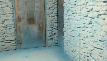 Ledge stone steel door